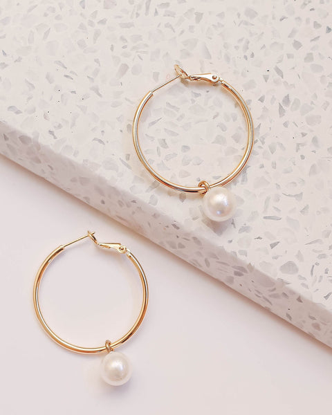 Marrin Costello - Prim Pearl Gold Hoops