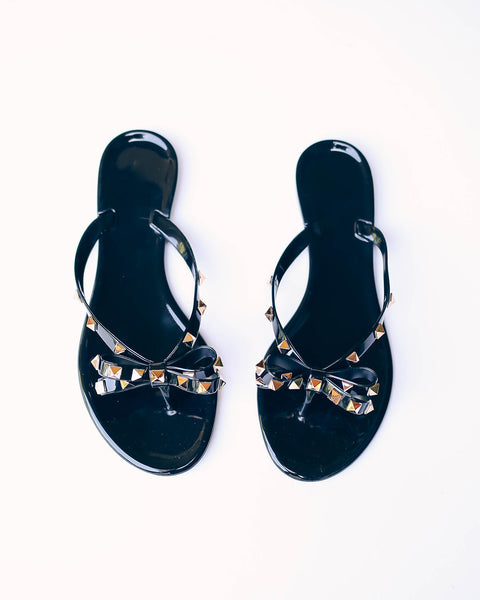 Claremont Gold Studded Sandals - Black - FINAL SALE