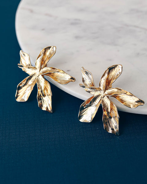 Dripping In Gold Floral Statement Earrings