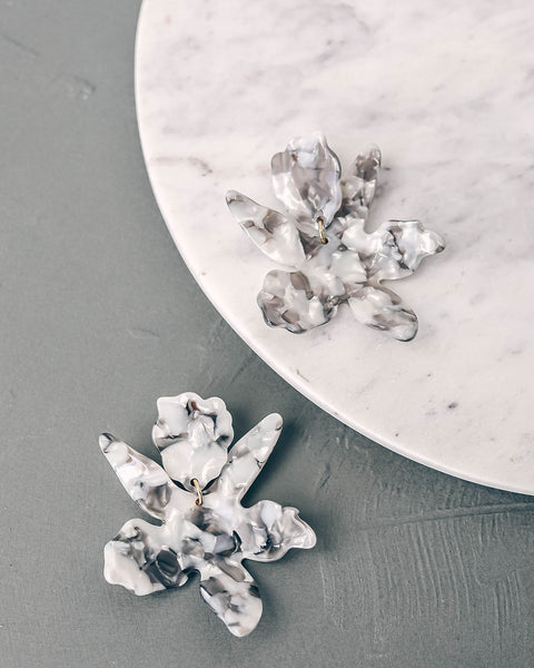 Without Sun Resin Floral Drop Earrings - Grey - FINAL SALE