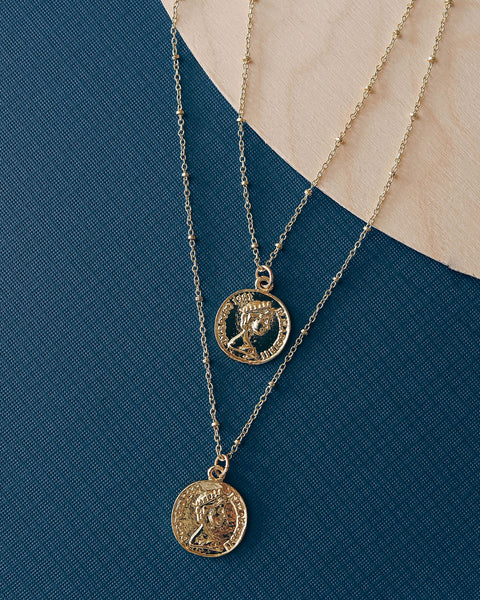 Goddess Of Love Layered Coin Necklace