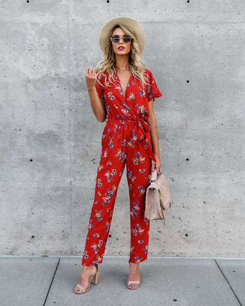 Silvia Pocketed Floral Jumpsuit