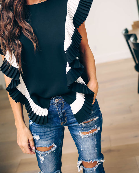 All The Frills Pleated Ruffle Top - Black