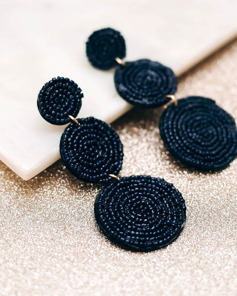 Bauble Beaded Statement Earrings - Navy