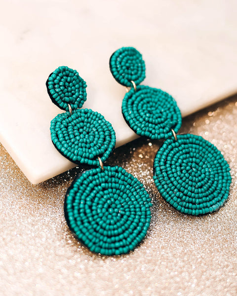 Bauble Beaded Statement Earrings - Teal