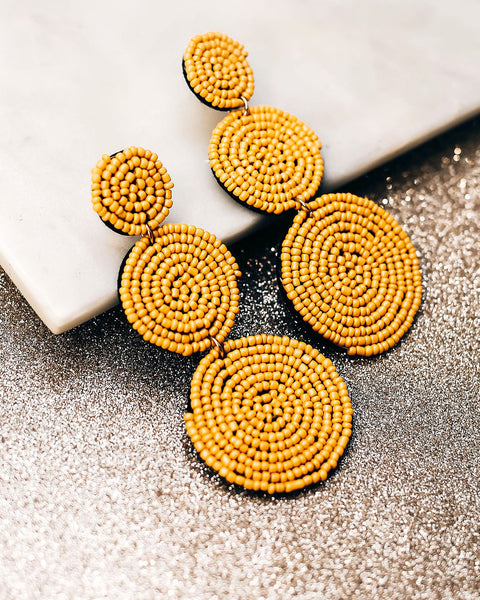 Bauble Beaded Statement Earrings - Mustard