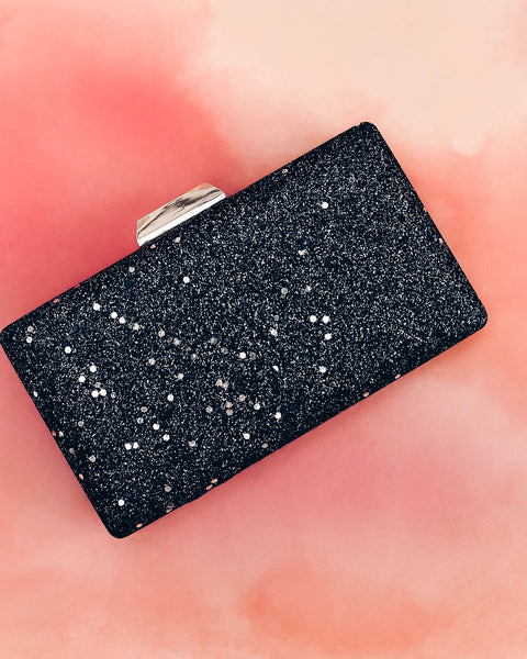 Flora Confetti Clutch - Black