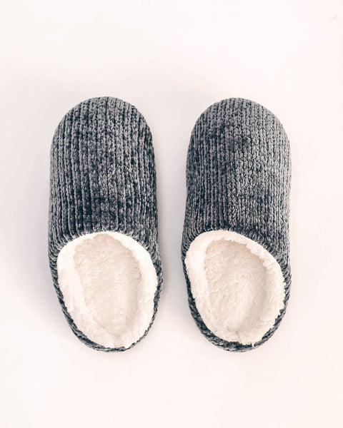 Christmas Morning Chenille Slippers - Grey
