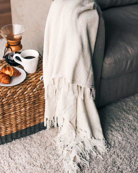 Let It Snow Chenille Blanket - Oatmeal