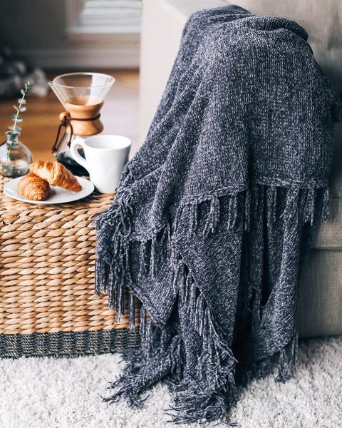 Let It Snow Chenille Blanket - Charcoal