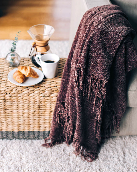 Let It Snow Chenille Blanket - Mocha