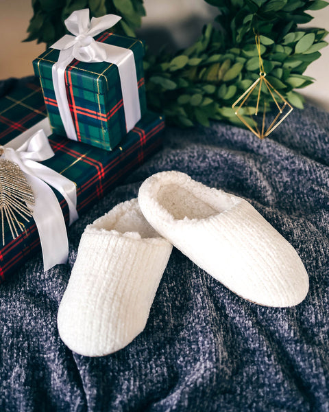 Christmas Morning Chenille Slippers - Ivory