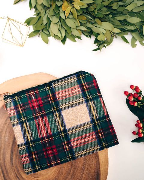 Festive Woven Plaid Zip Clutch - FINAL SALE