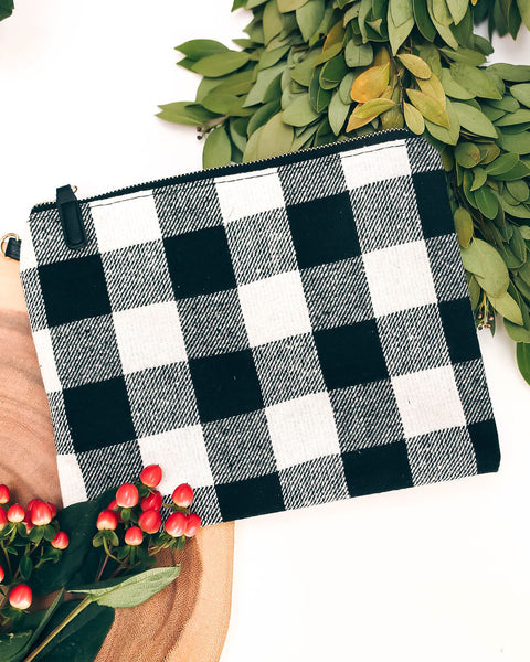Sleigh Ride Woven Plaid Zip Clutch - White - FINAL SALE