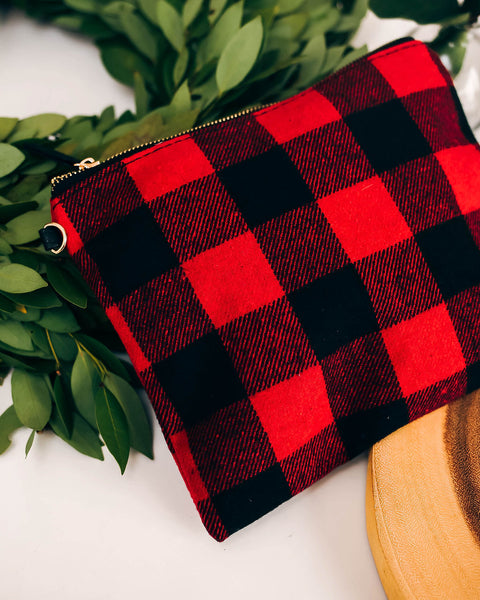 Sleigh Ride Woven Plaid Zip Clutch - Red - FINAL SALE