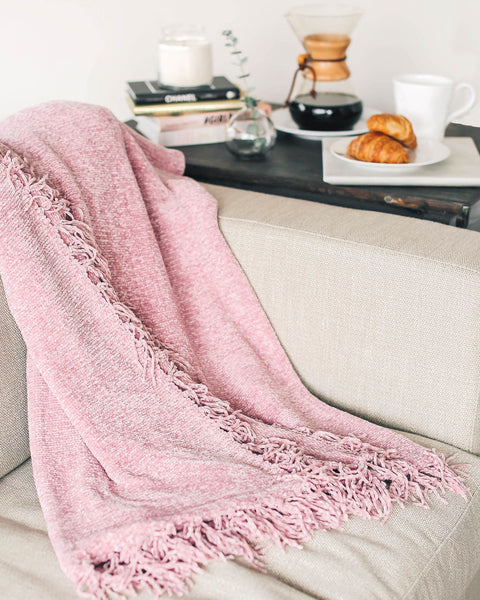 Let It Snow Chenille Blanket - Mauve