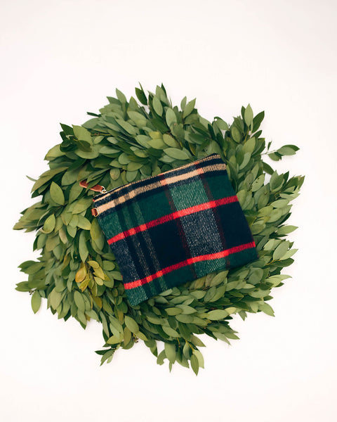 Yuletide Woven Plaid Zip Clutch - FINAL SALE