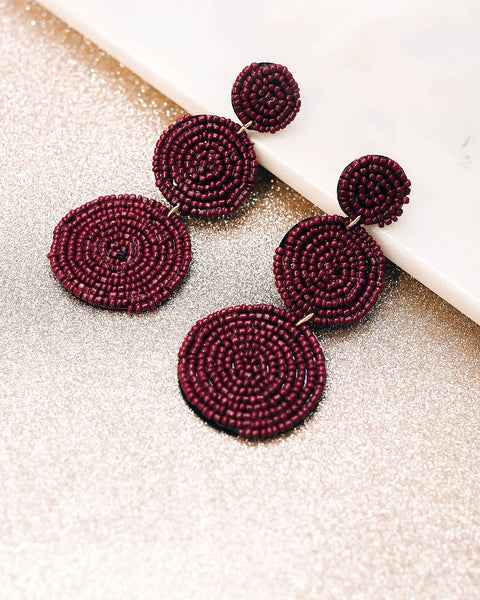 Bauble Beaded Statement Earrings - Burgundy