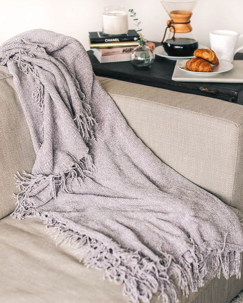 Let It Snow Chenille Blanket - Grey