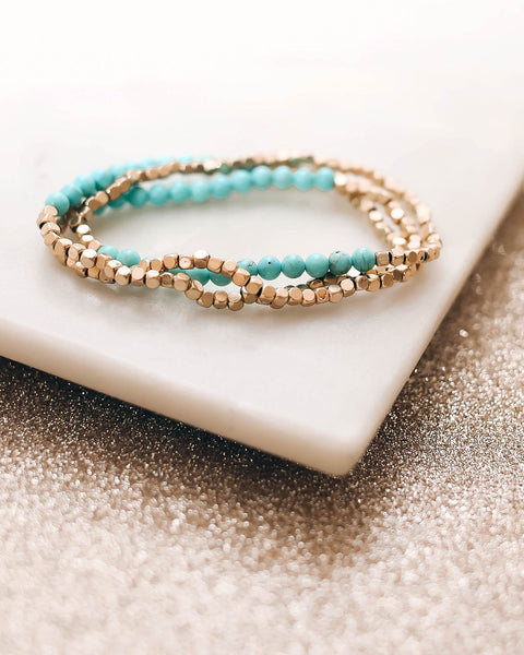 Ice Queen Beaded Bracelet Set - Turquoise