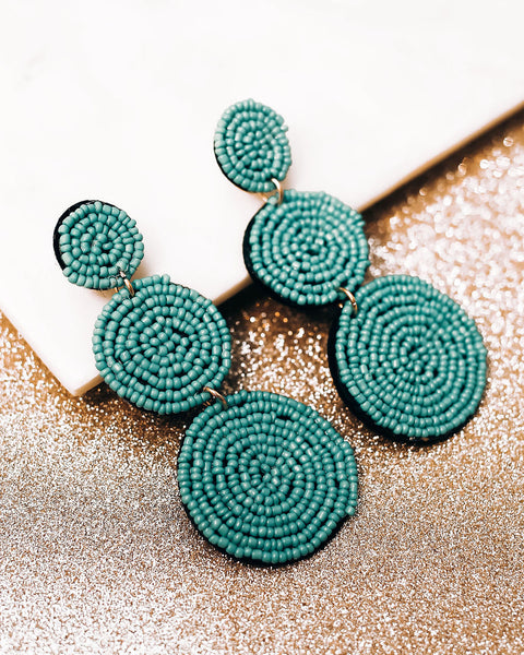 Bauble Beaded Statement Earrings - Turquoise