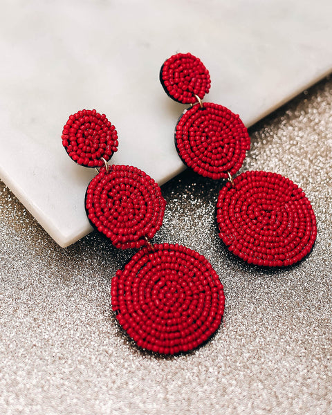 Bauble Beaded Statement Earrings - Red