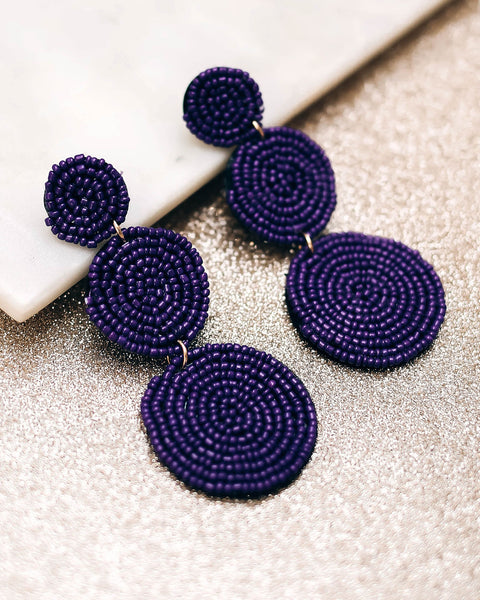 Bauble Beaded Statement Earrings - Purple