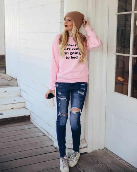 Roses Are Red Cotton Sweatshirt - FINAL SALE