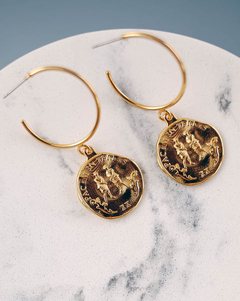 Fausta Coin Hoop Earrings