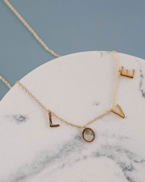 Love Gold Name Necklace
