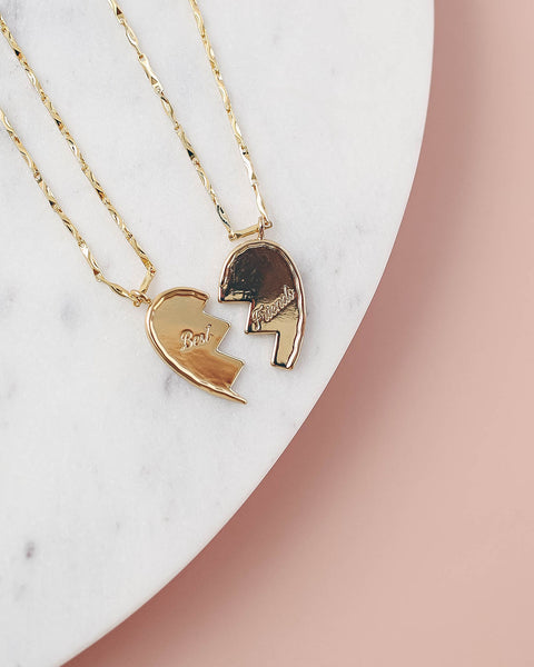 Best Friends Heart Necklace Set