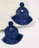 Doll House Beaded Fringe Statement Earrings - Navy