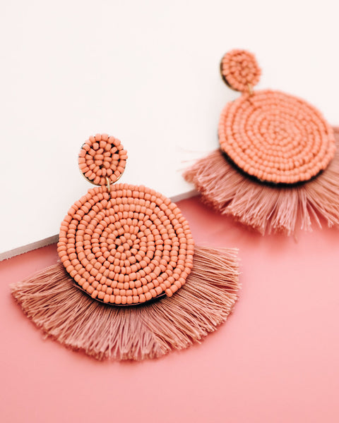 Brielle Beaded Fringe Earring - Mauve