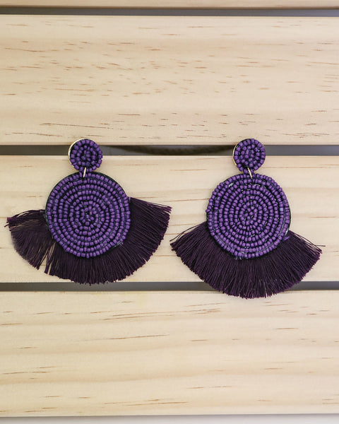 Brielle Beaded Fringe Earring - Purple
