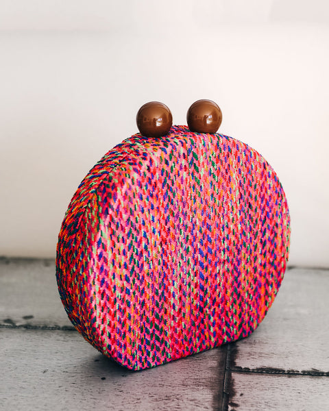 Rebelle Woven Crossbody Canteen Bag - Fuchsia/Multi