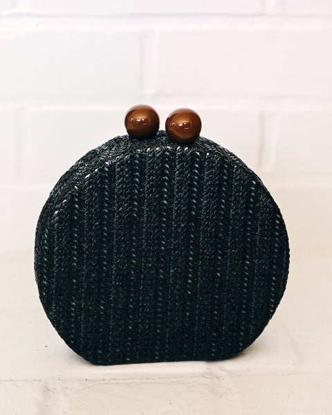 Rebelle Woven Crossbody Canteen Bag - Black