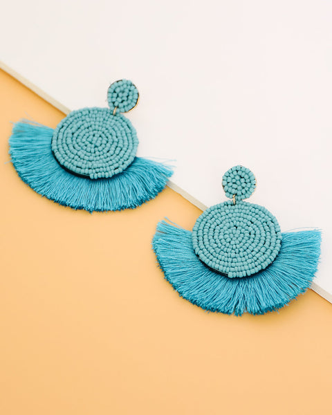 Brielle Beaded Fringe Earring - Turquoise