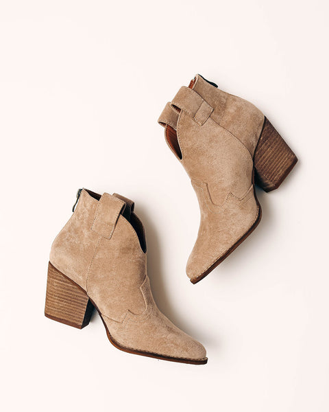 World Awaits Faux Suede Heeled Bootie