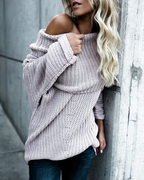 Railroads Ribbed Knit Sweater - Light Mauve - FINAL SALE