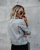 Ryder Faux Leather Moto Jacket - Grey