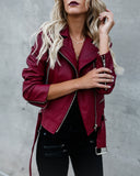 Ryder Faux Leather Moto Jacket - Burgundy