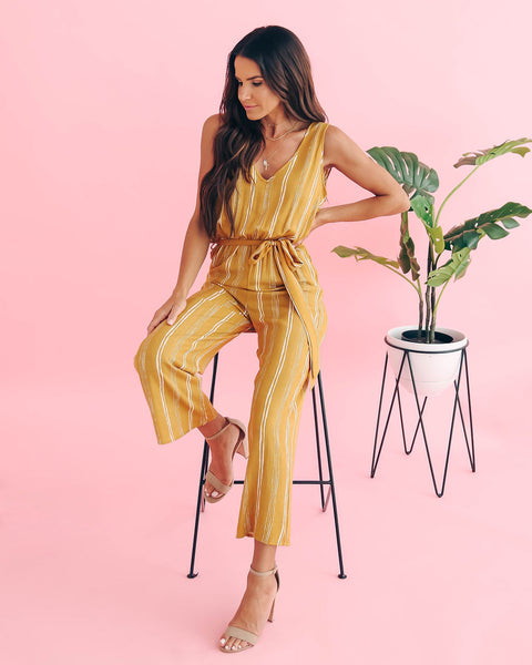 Beat Of The Sun Striped Tie Jumpsuit