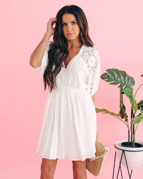 Catching Hearts Lace Babydoll Dress - White - FINAL SALE