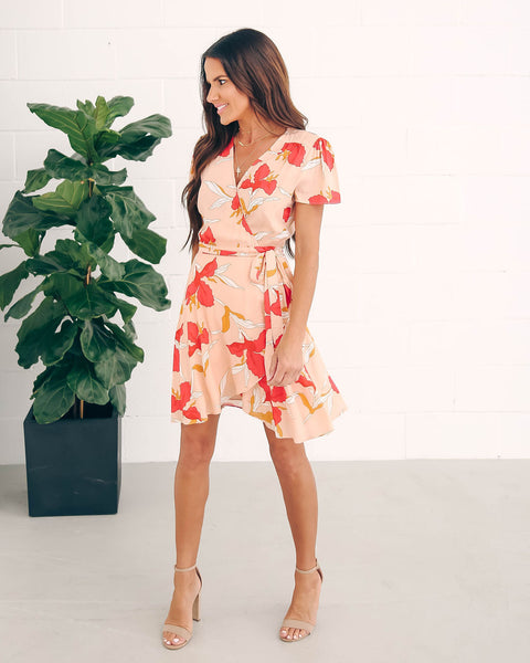 Floral Frenzy Short Sleeve Wrap Dress