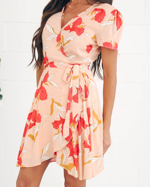 Floral Frenzy Short Sleeve Wrap Dress - FINAL SALE