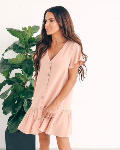 Neopolitan Babydoll Dress - Dusty Pink