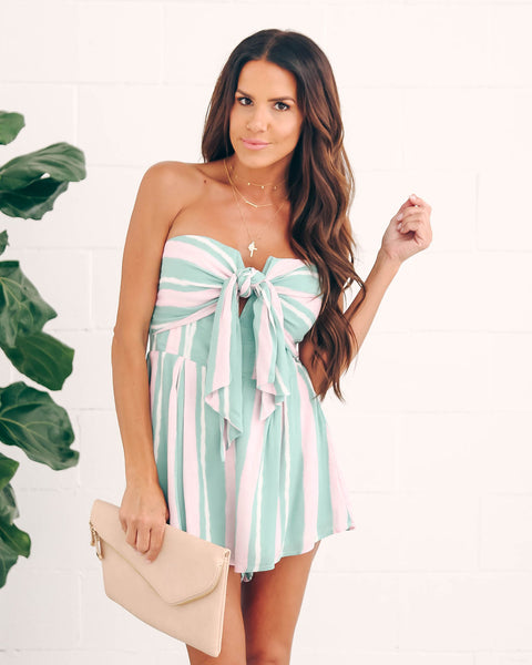 Minted Strapless Tie Front Romper