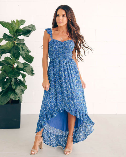 Robin Smocked Floral High Low Maxi Dress