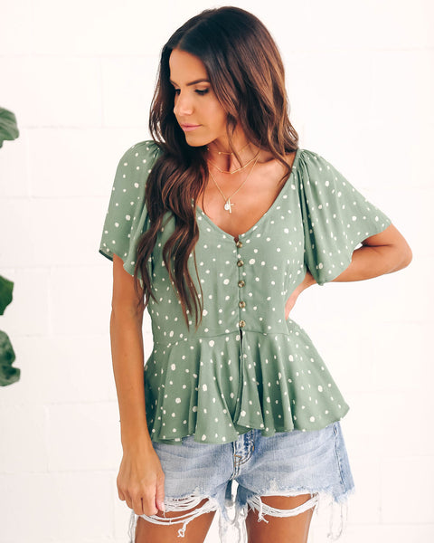 Free Fallin' Button Down Flutter Top - Sage