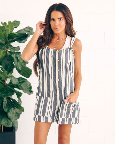 Treviso Cotton Striped Pocketed Romper - FINAL SALE